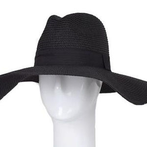 Straw Hat With Wide Band, Black